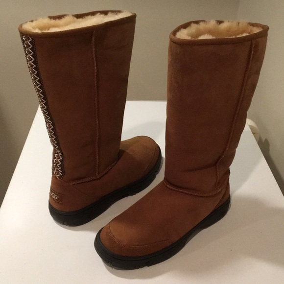 574b49c0503 New Ugg Ultimate Tall Braided Chestnut boots 9 🌹 NWT